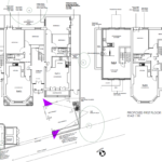 First floor plan sketch of different flats with labelled rooms such as existing patio. Scale 1:100