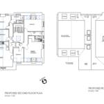 Second floor and roof floor plan. Flat five and six