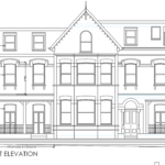 Sketch of front elevation of house with labels on windows.