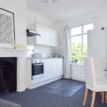 Open plan white kitchen, living and dining room
