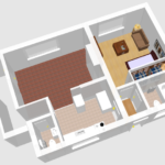 Digitalised plans of refurbishment to house. Kitchen, bedroom and bathroom in drawing.