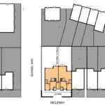 Aerial view of digitalised proposed plans for new house extension with measurements.