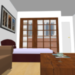 Digitalised drawing of bedroom and living room with big wooden doors with windows.